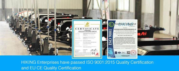 ISO 9001:2015 Quality Certification and EU CE quality certification of HIKING Laser screed