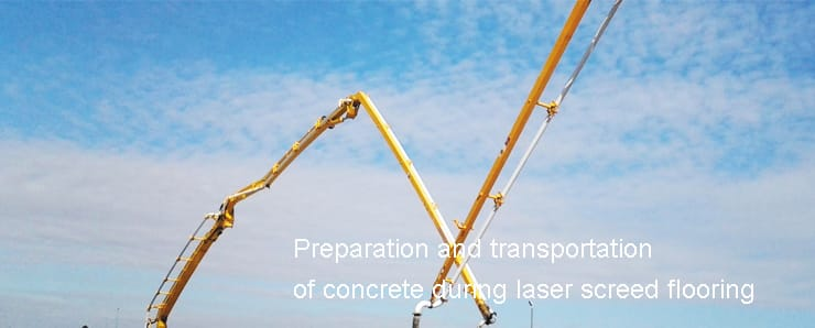 Preparation and transportation of concrete during laser screed flooring