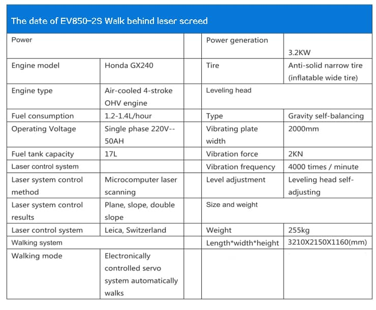 datesheet of the ev850-2s laser screed