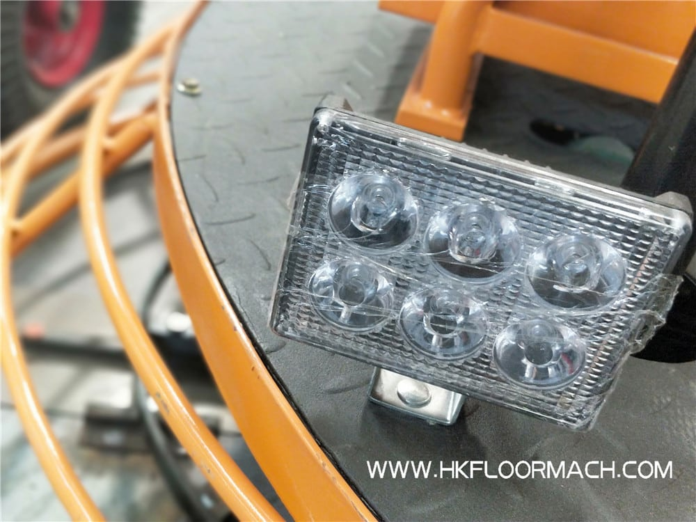 The LED light of the ride on trowel machine